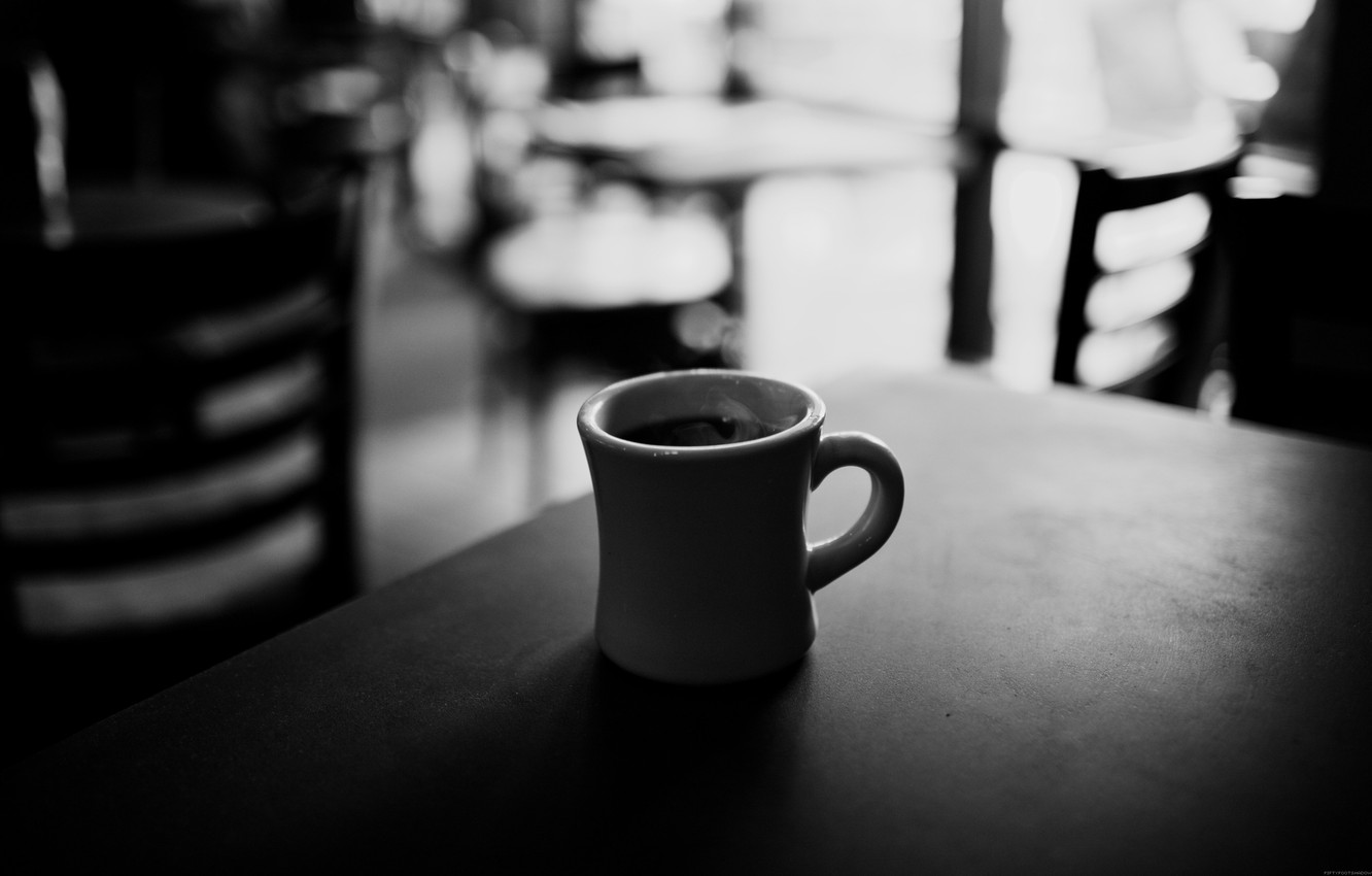 Wallpaper mood coffee Cup cafe black and white mood images 1332x850
