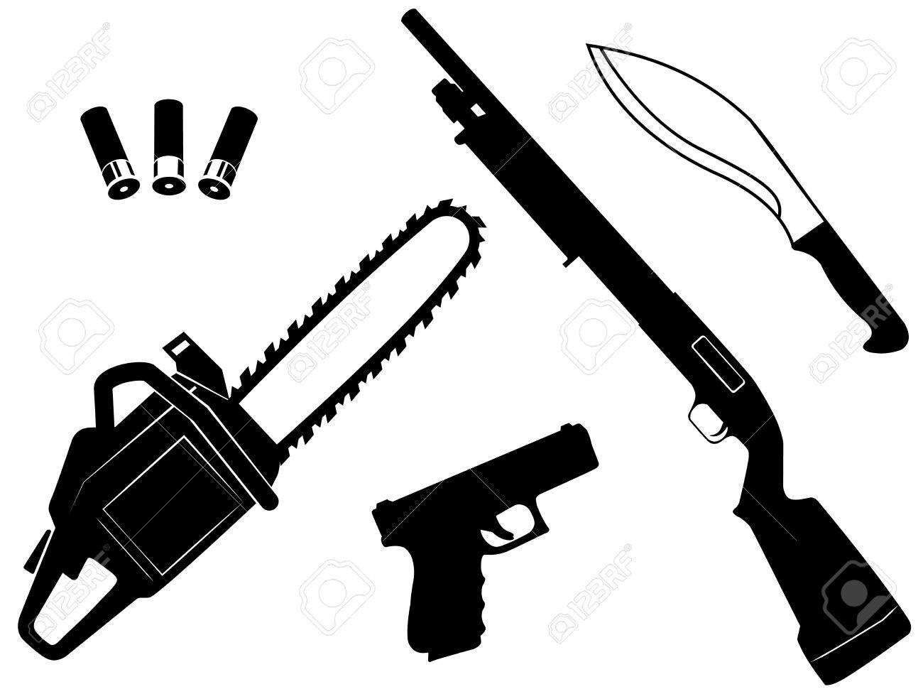 Vector Et Of Gangster Criminal Weapons And Anti Zombie Apocalypse 1300x977