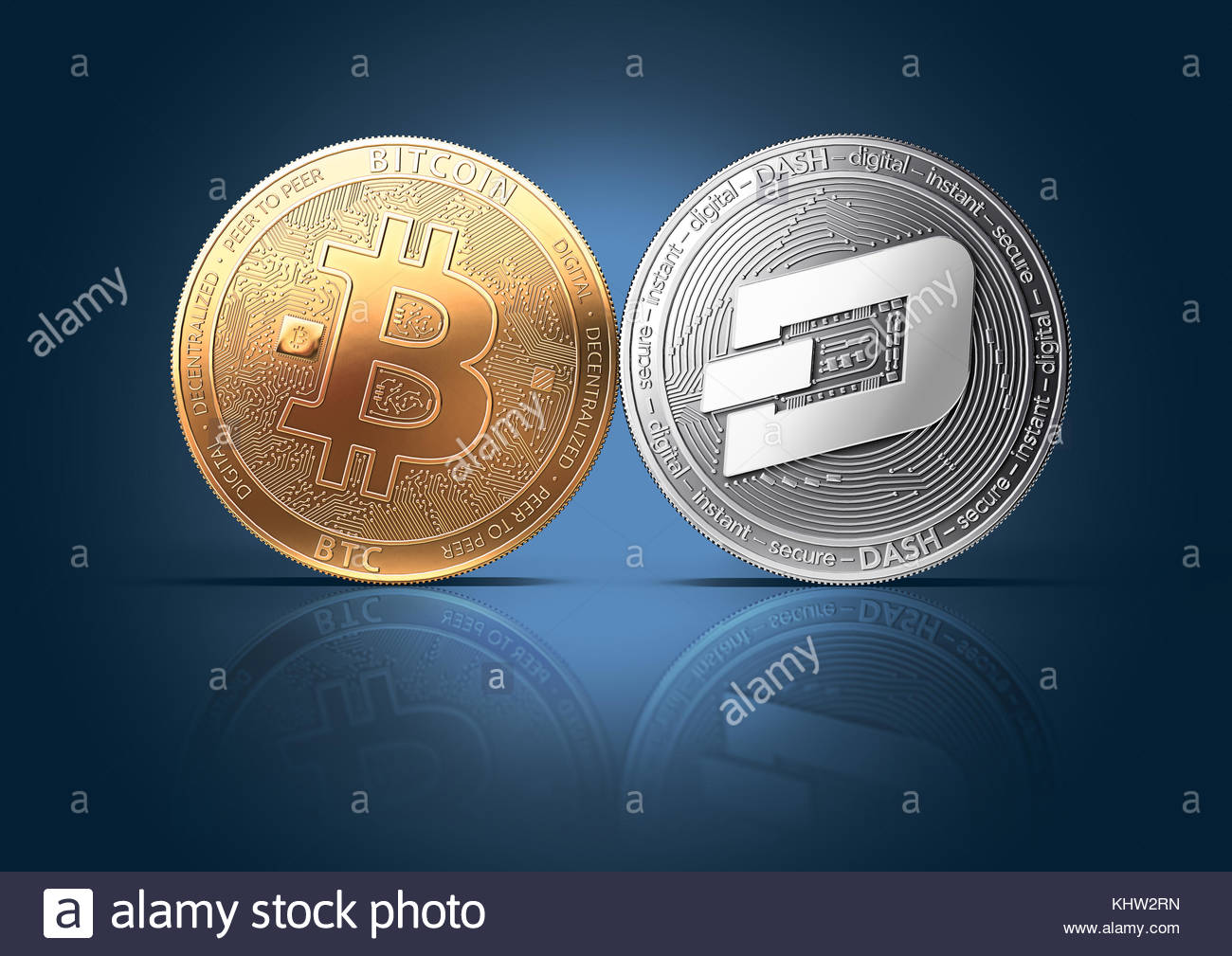 Clash of Bitcoin and Dash coins on a gently lit background with 1300x1009