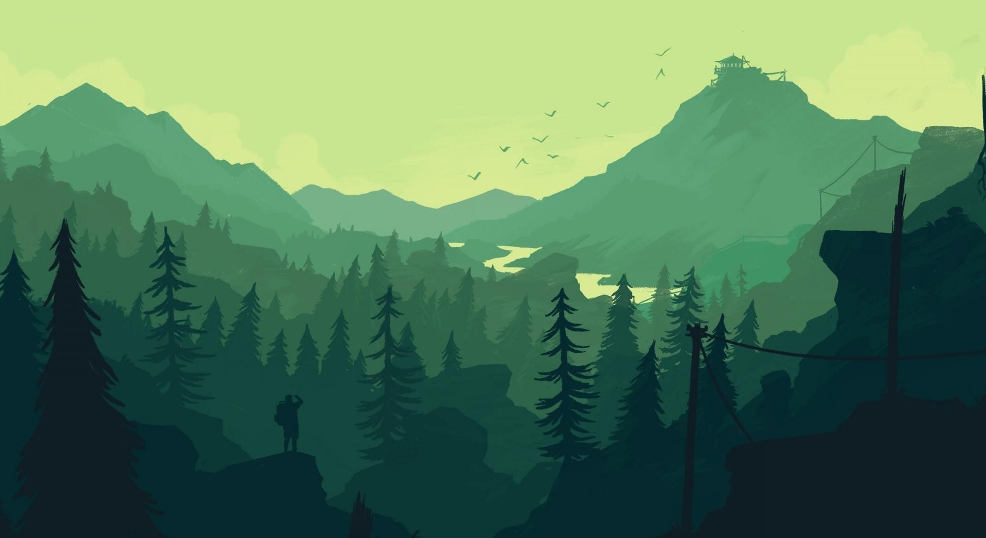 Download 1980x1080 Firewatch Landscape Forest Minimalistic 1980x1080