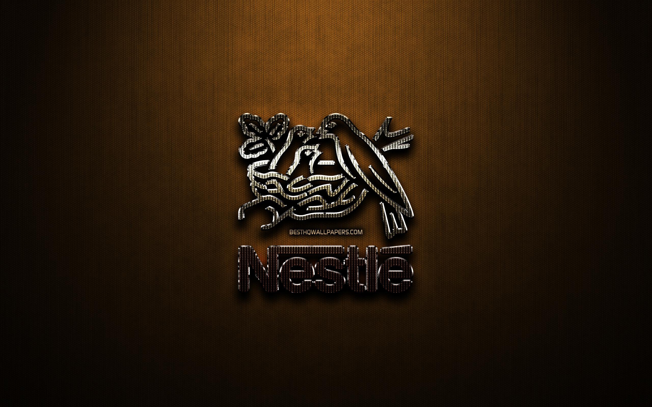 Download wallpapers Nestle glitter logo creative bronze metal 2560x1600