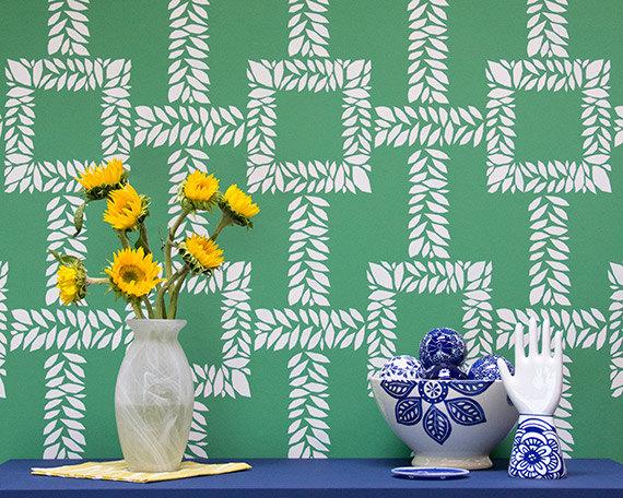 Trellis Boxwood Leaf Wall Stencil Pattern by royaldesignstencils 570x456
