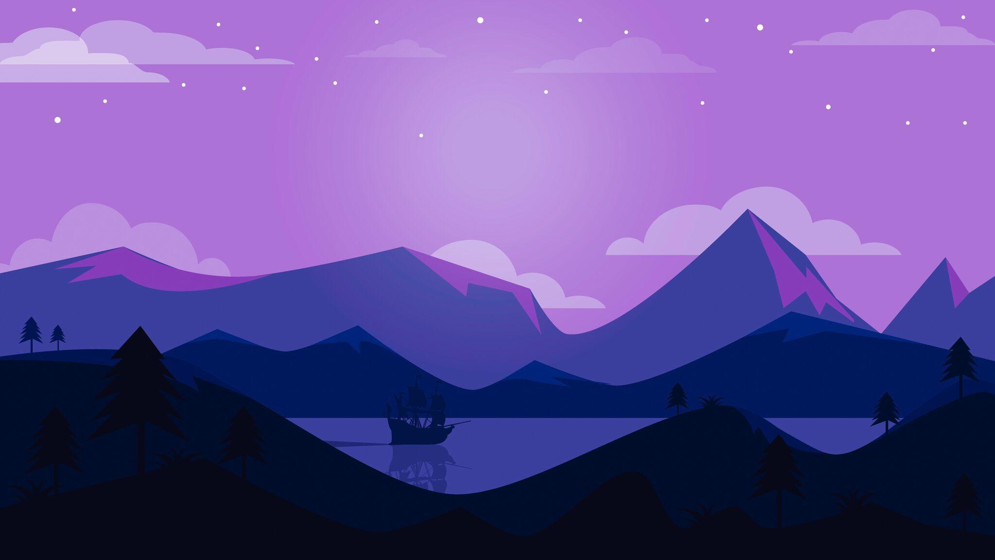 Minimal Ship Artwork Purple Background Wallpaper HD Minimalist 4K 2048x1152