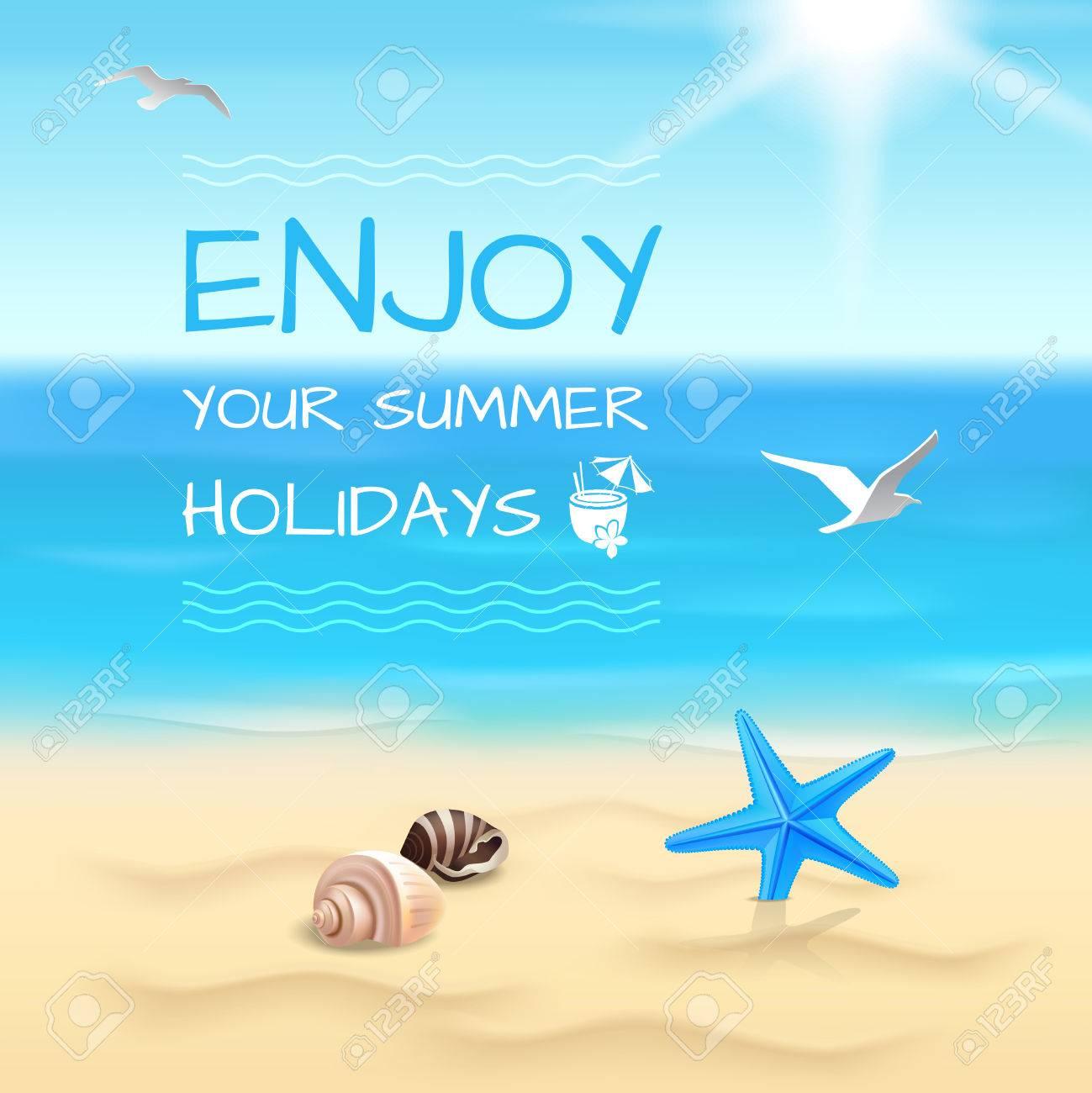 Summer Holidays Seaside Beach Background Enjoy Your Summer 1299x1300