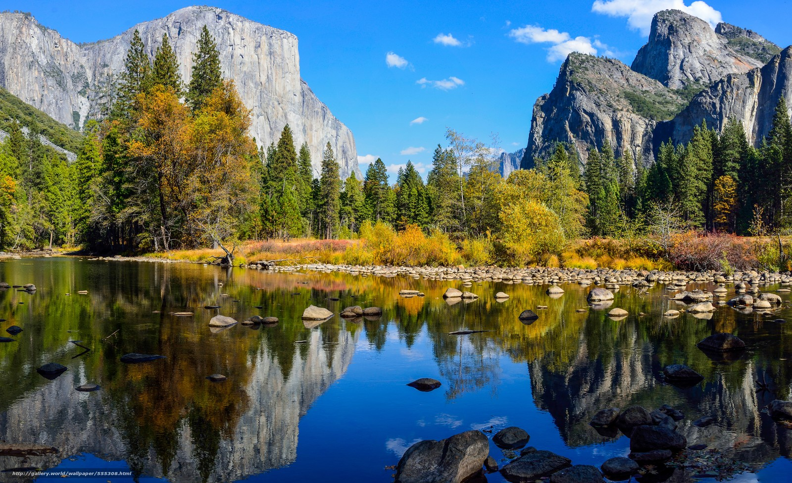 Download wallpaper Yosemite National Park river Mountains Rocks 1600x975