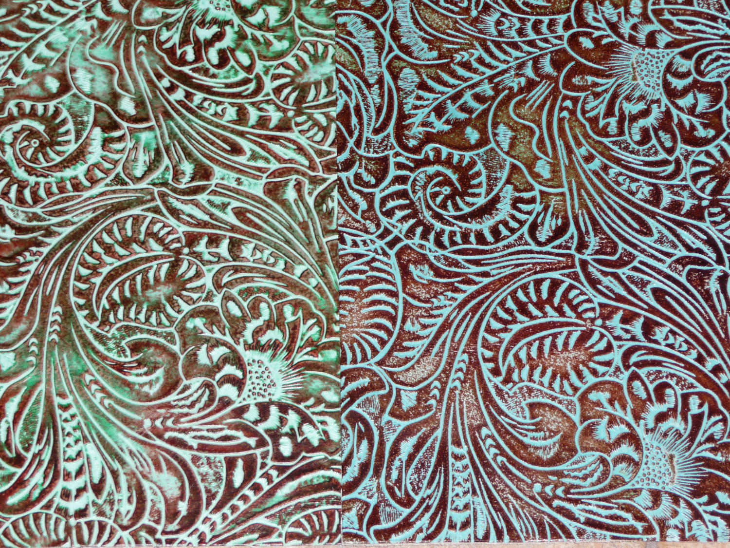 Turquoise Western Floral and Leaf tooled pattern Cowhide PeggySueAlso 1500x1125