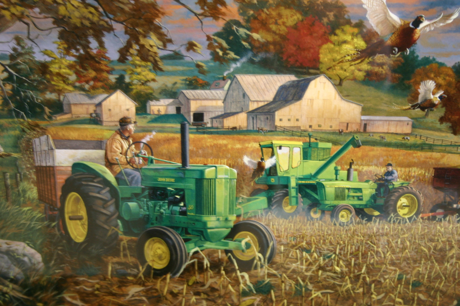 John Deere Wall Mural Old Farm Scene Wallpapers Wallpapersafari