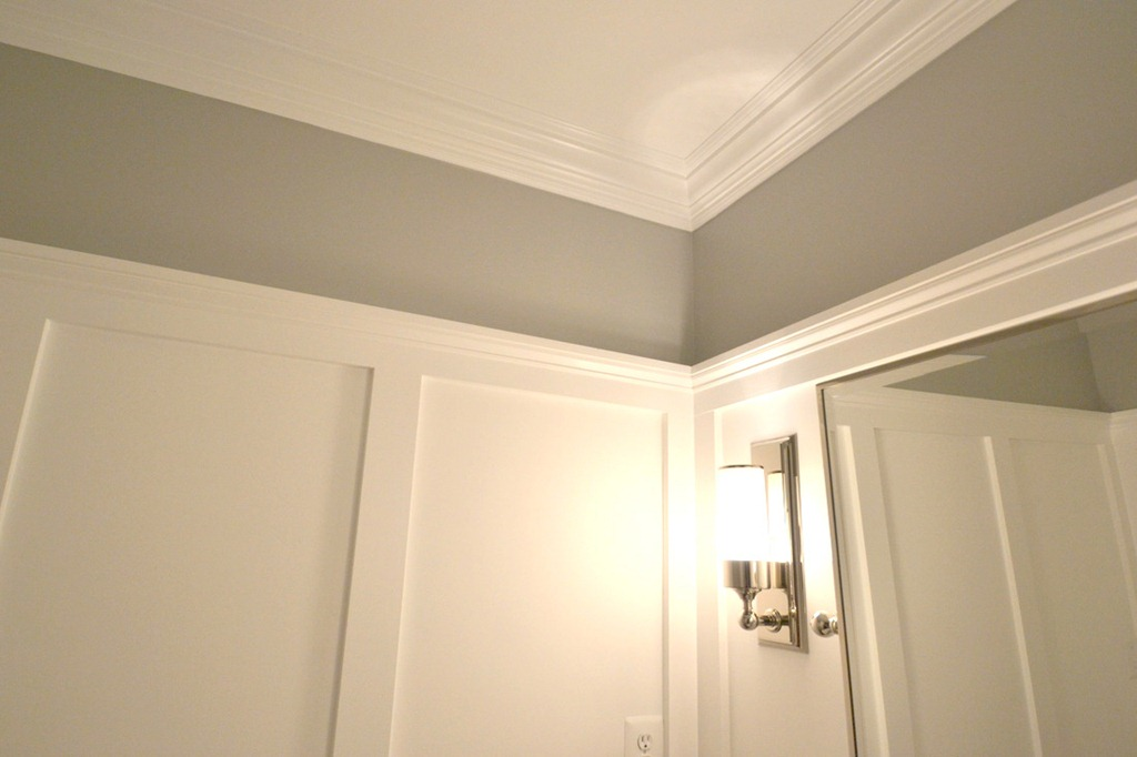 wallpaper to new crown molding and wainscot molding on walls Molding 1024x682