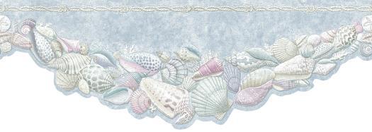 Free Download Blue Die Cut Seashell Wall Border Wallpaper