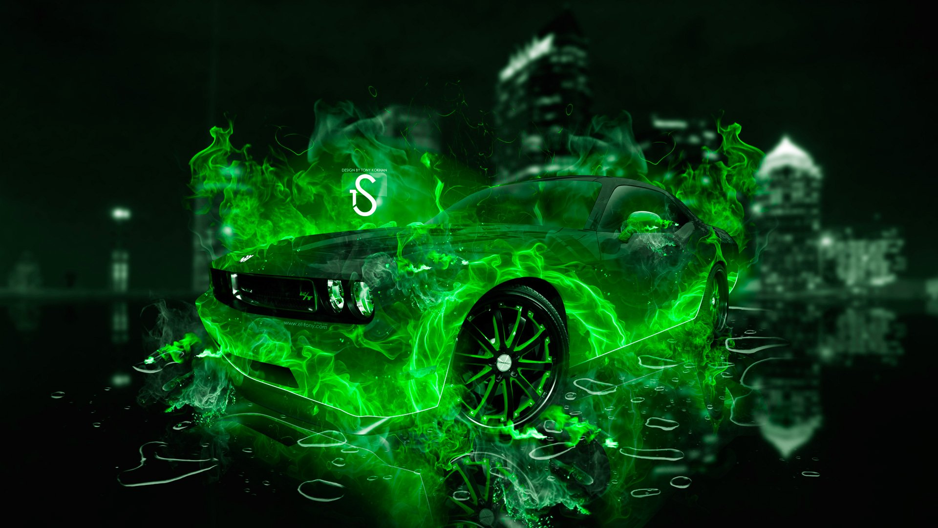 Dodge Challenger Green Fire City Car 2014 HD Wallpapers design by Tony 1920x1080