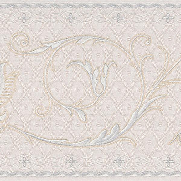 451 1642 Off White Fleur De Lis Scroll   Brewster Wallpaper Borders 600x600