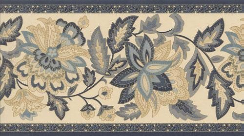 Wallpaper Border Designer Blue Gold Jacobean Floral on Ivory 500x279