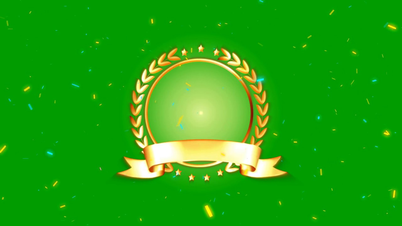 4K Anniversary Badges With Paper Particles Green Screen Background 1280x720