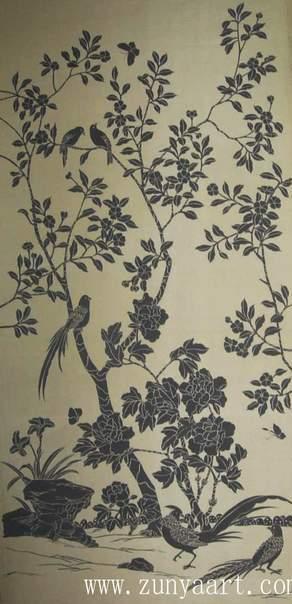 China Chinoiserie Handpainted Silk Wallpaper Wallcoverings   China 292x604