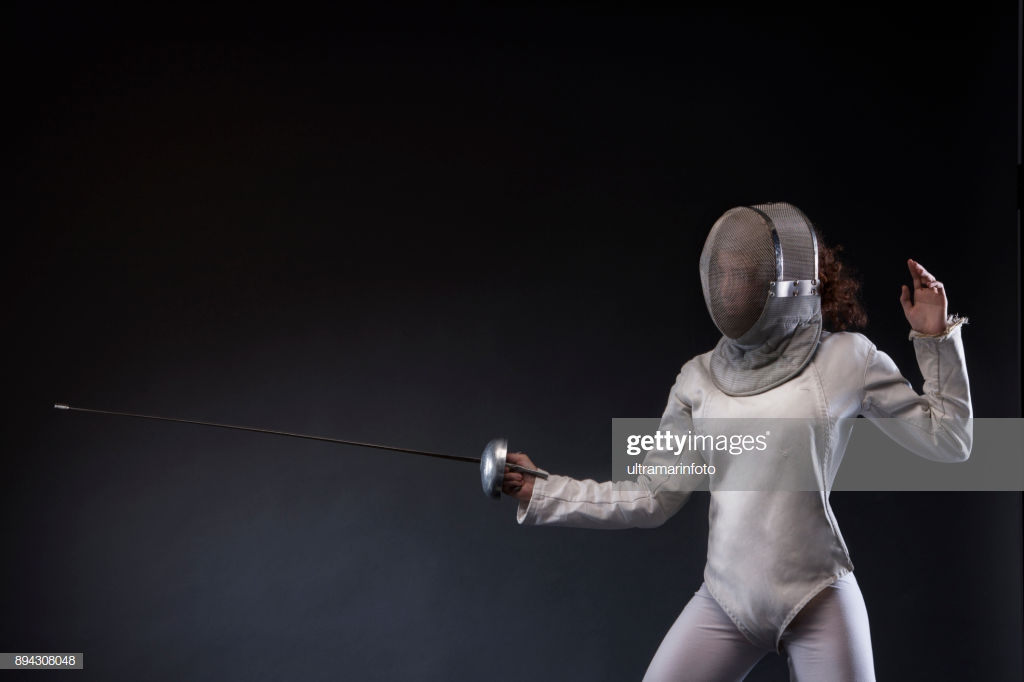 Fencing Sport Young Woman Fencer Action In Fencing Pose Black 1024x682