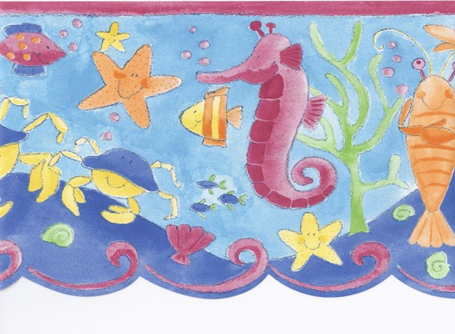 Red Blue Under The Sea Wallpaper Border   Baby Nursery Kids 640x470