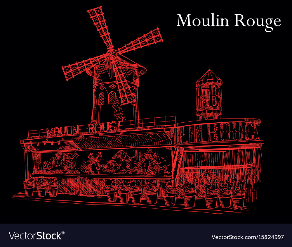 Moulin rouge in red colors on black background Vector Image 1000x844
