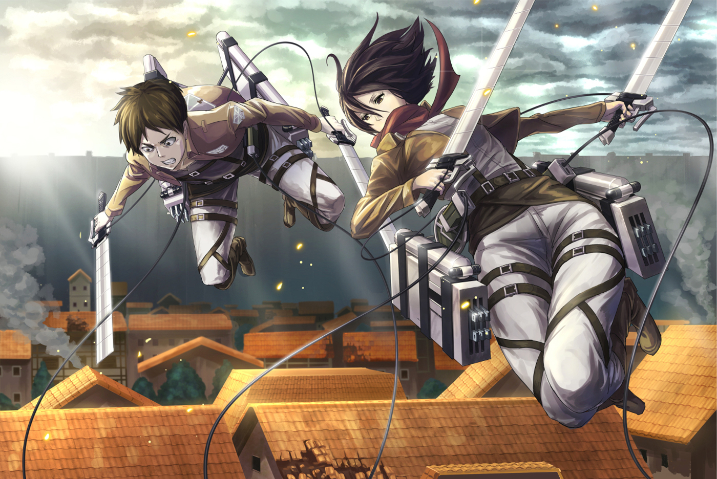Mikasa Ackerman Anime Sword Blade HD Wallpaper Desktop Background 1400x936