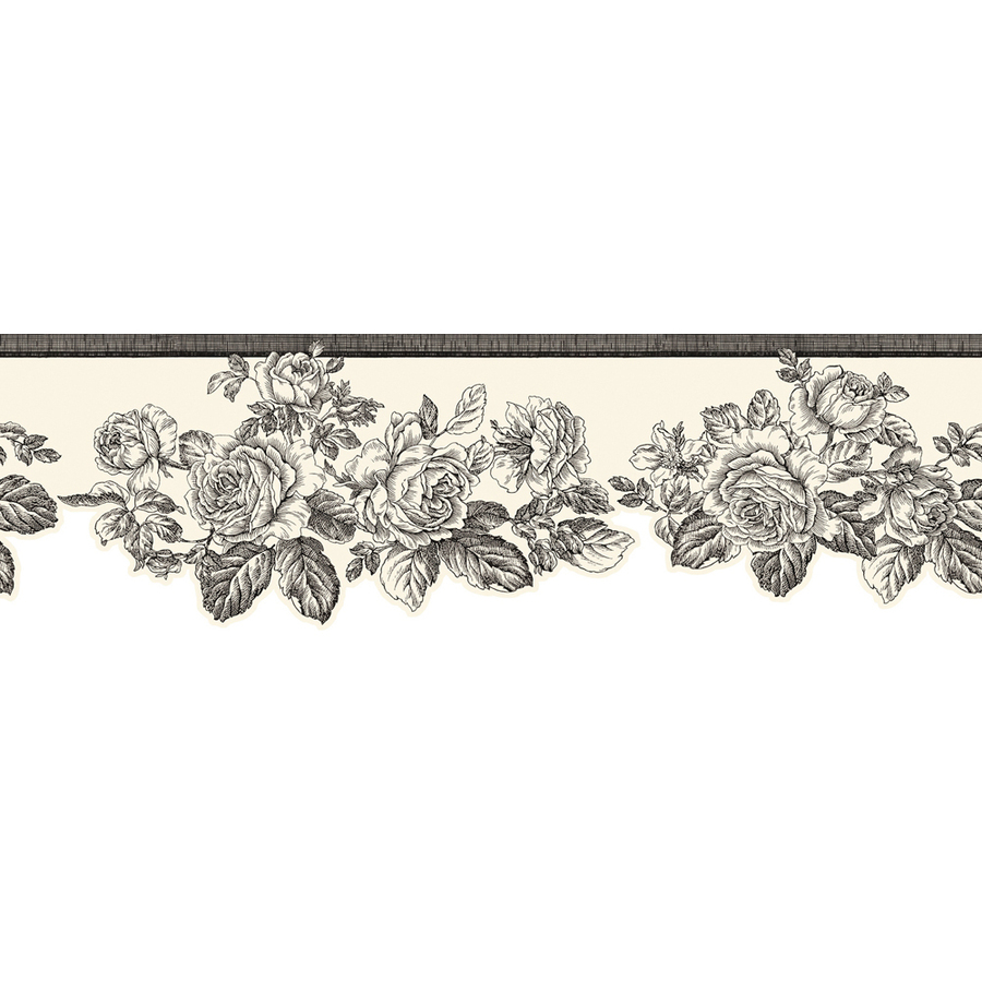 Black And White Rose Prepasted Wallpaper Border at Lowescom 900x900