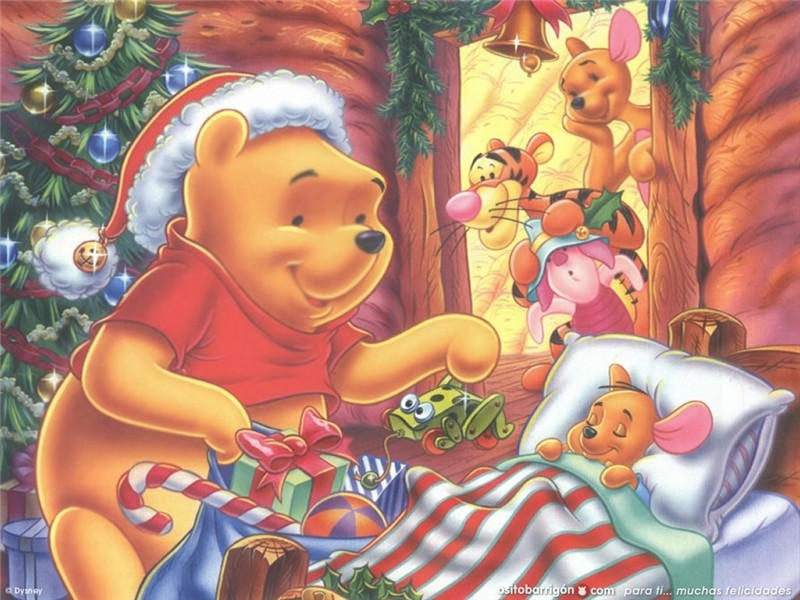 Winnie the Pooh and Piglet Christmas Wallpaper : Christmas Cartoons