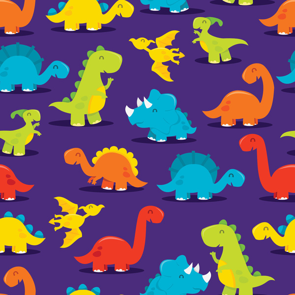 Cute Dinosaurs Background Cute fun dinosaurs pattern art 600x600