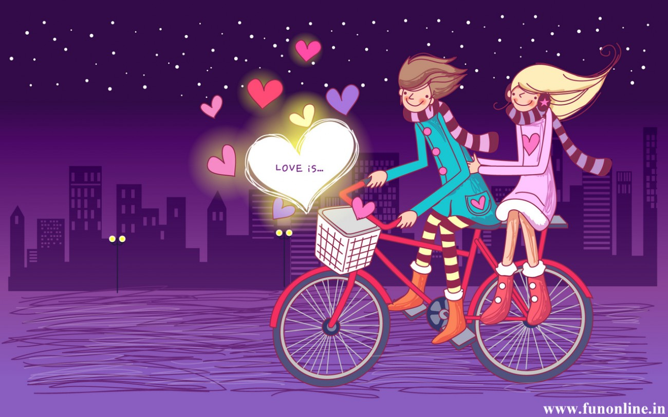 Pics Photos   Cute Animated Love Wallpaper For Widescreen 1300x812