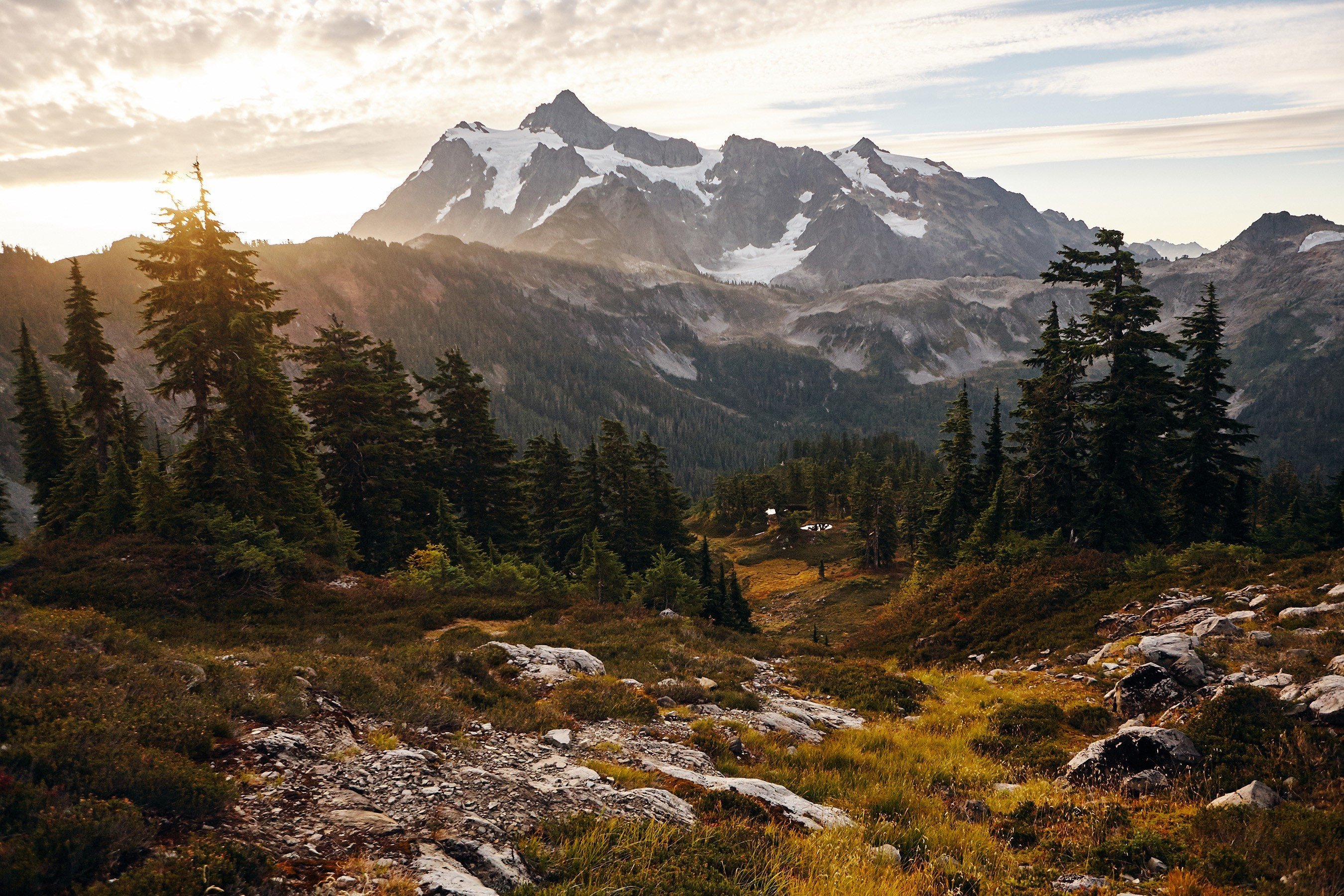 landscape mountains forest mount shuksan north cascades national 2700x1800