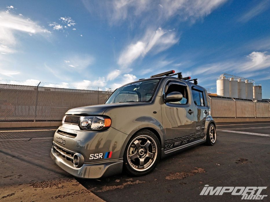 Black tuning wheels racing Nissan Cube wallpaper 1600x1200 933x700