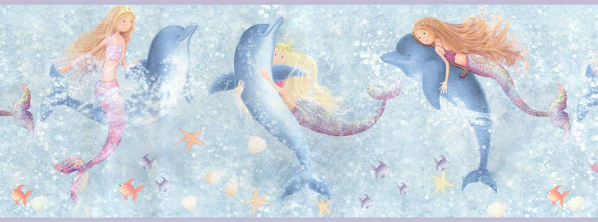 Mermaids Dolphins Wall Border Roll   Bathroom Wall Decor 1200x447