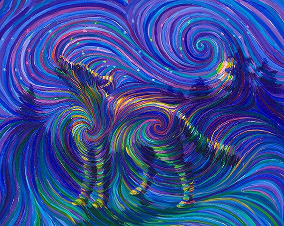 Spirit Wolf Energy Painting Giclee Print by energyjewelrystore 570x453