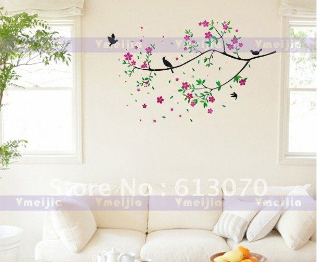 2436 flowers Birds Wall Stickers mural wallpaper Decal Home cute 626x518
