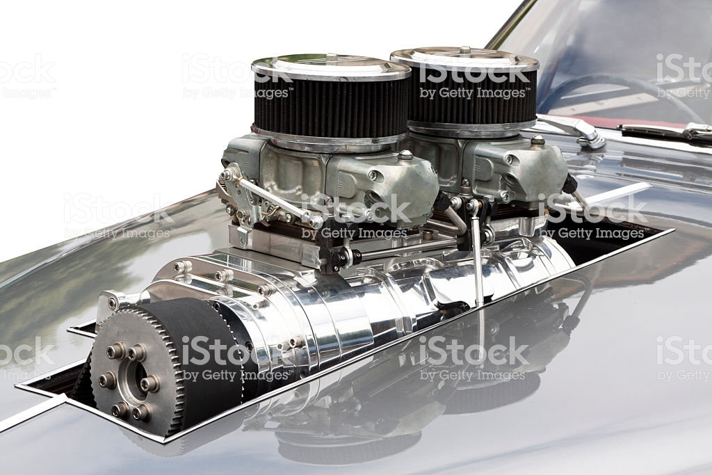 Chrome Supercharger Car Engine Hot Rod White Background Copy Space 1024x683