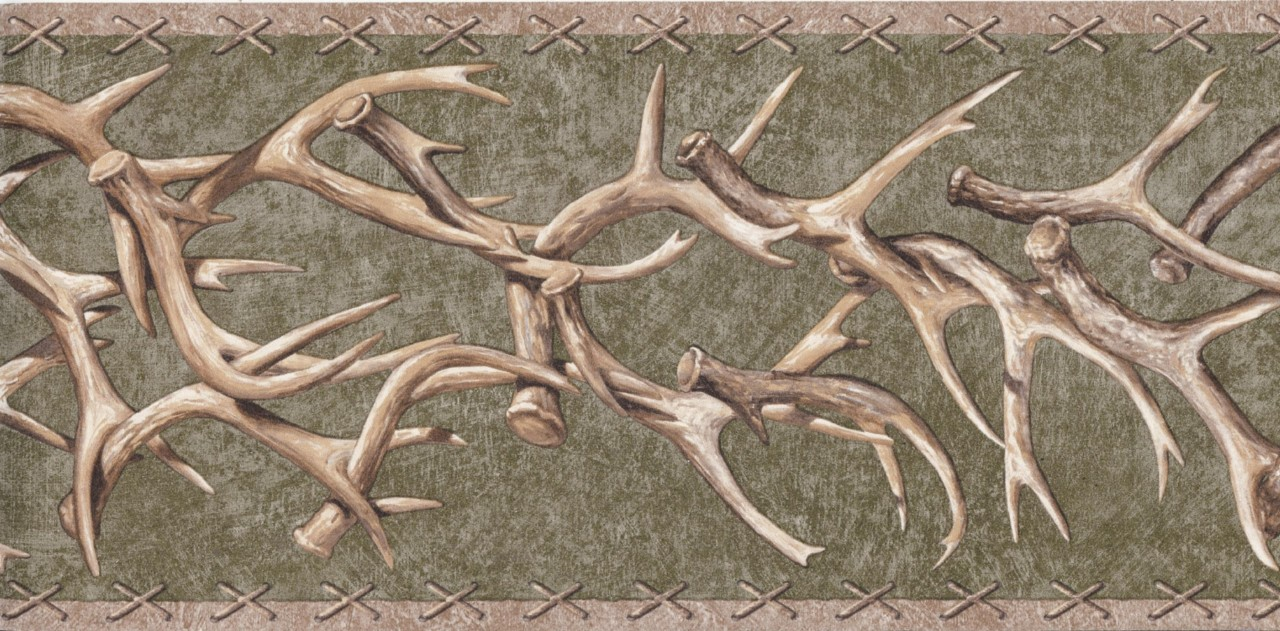 Details about Wallpaper Border Lodge Style Deer Antlers On Green Faux 1280x631