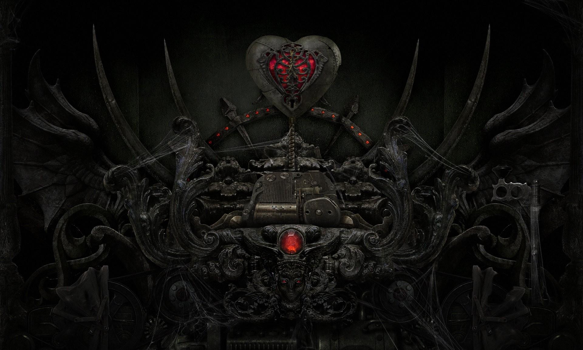Download Dark Love Heart Evil Sci Fi Mech Gothic Wallpaper Background 1920x1153