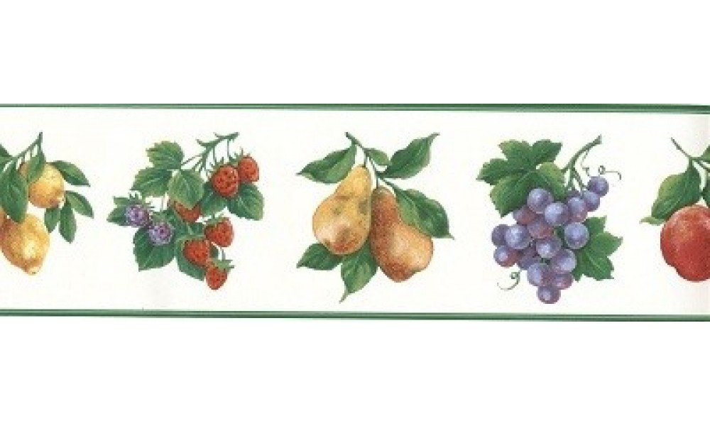 Home Green White Fruit Wallpaper Border 1000x600