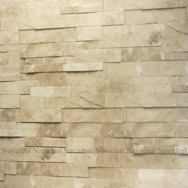 Cream Stacked Brick Stone Faux Realistic PVC Wallpaper Sheet eBay 600x600