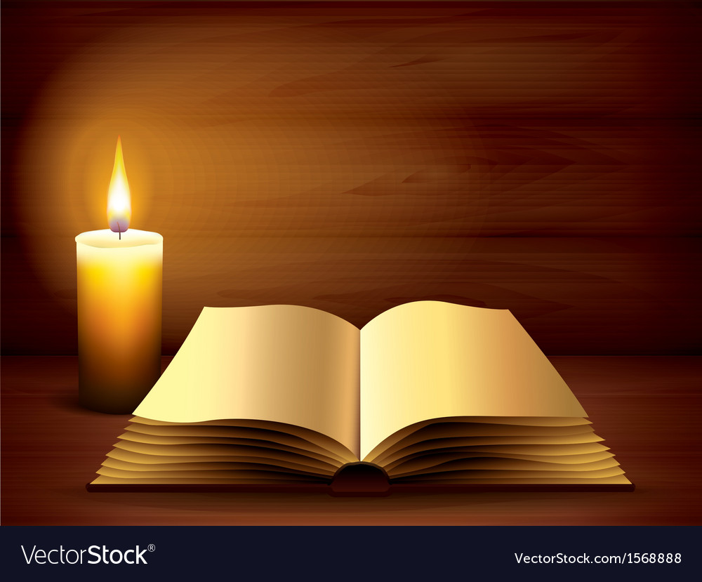 Candle book dark background Royalty Vector Image 1000x829