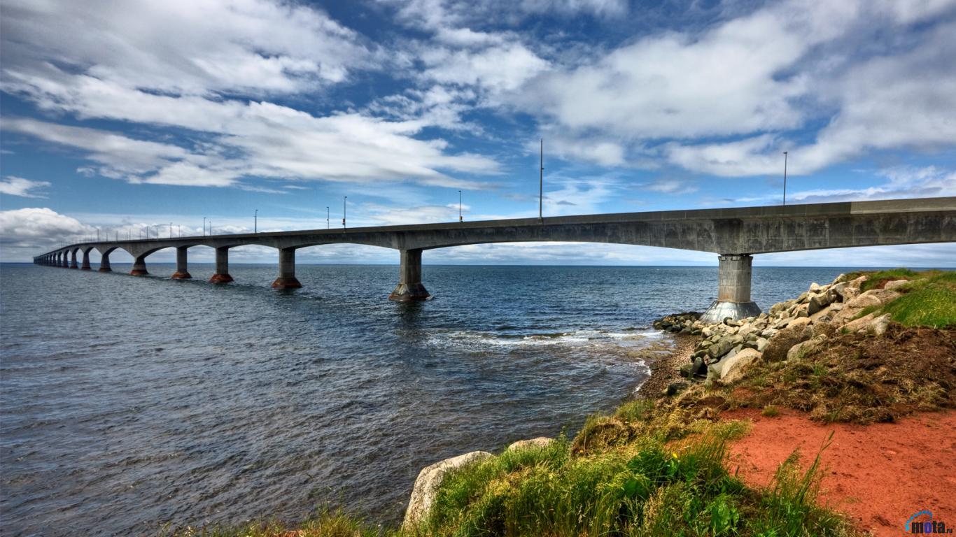 Download Wallpaper Confederation Bridge Prince Edward Island Canada 1366x768