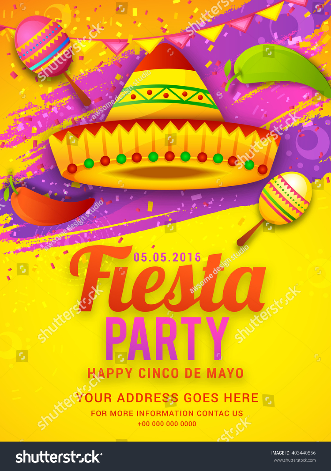 Poster Party Flyer Cinco De Mayo Stock Vector 403440856 1125x1600