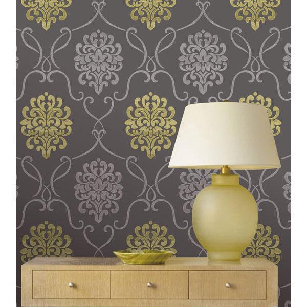 DL30440 Grey Modern Damask   Suzette   Decorline Wallpaper 600x600