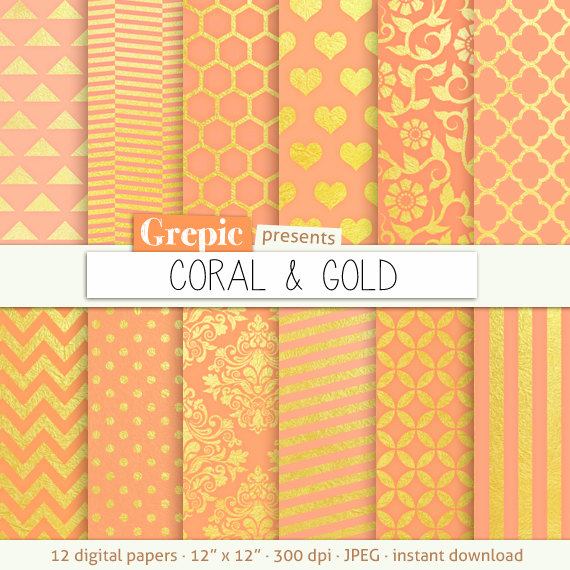Coral gold digital paper CORAL GOLD gold coral backgrounds w 570x570