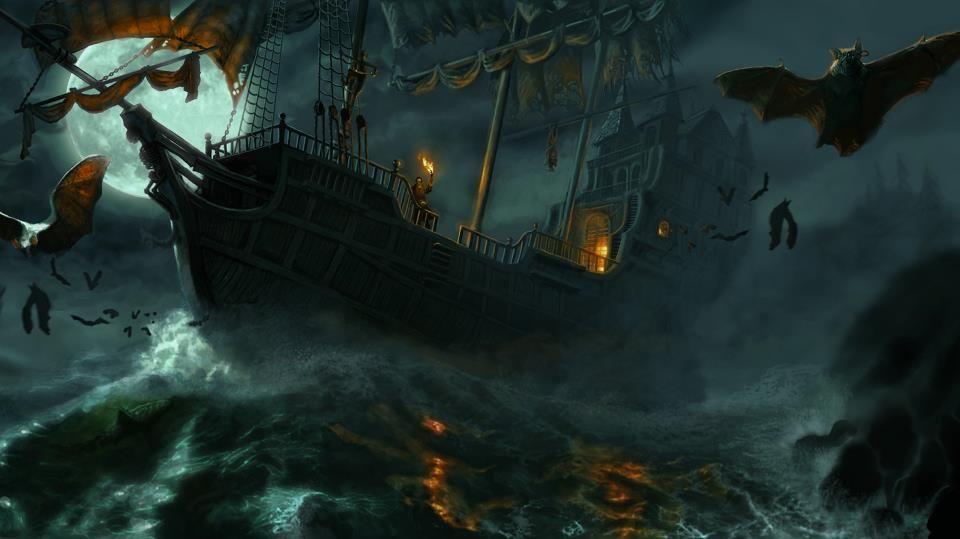 Night voyage Pirate Lore Ship art Halloween painting 960x539