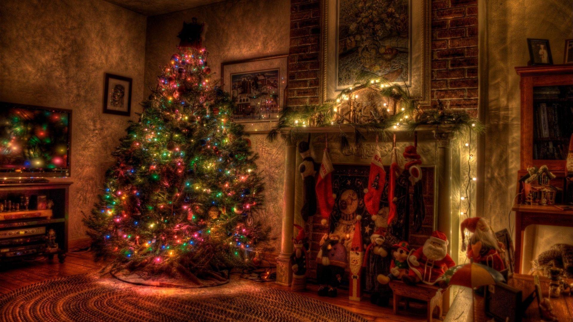 1920x1080 Wallpaper tree christmas holiday garland fireplace 1920x1080