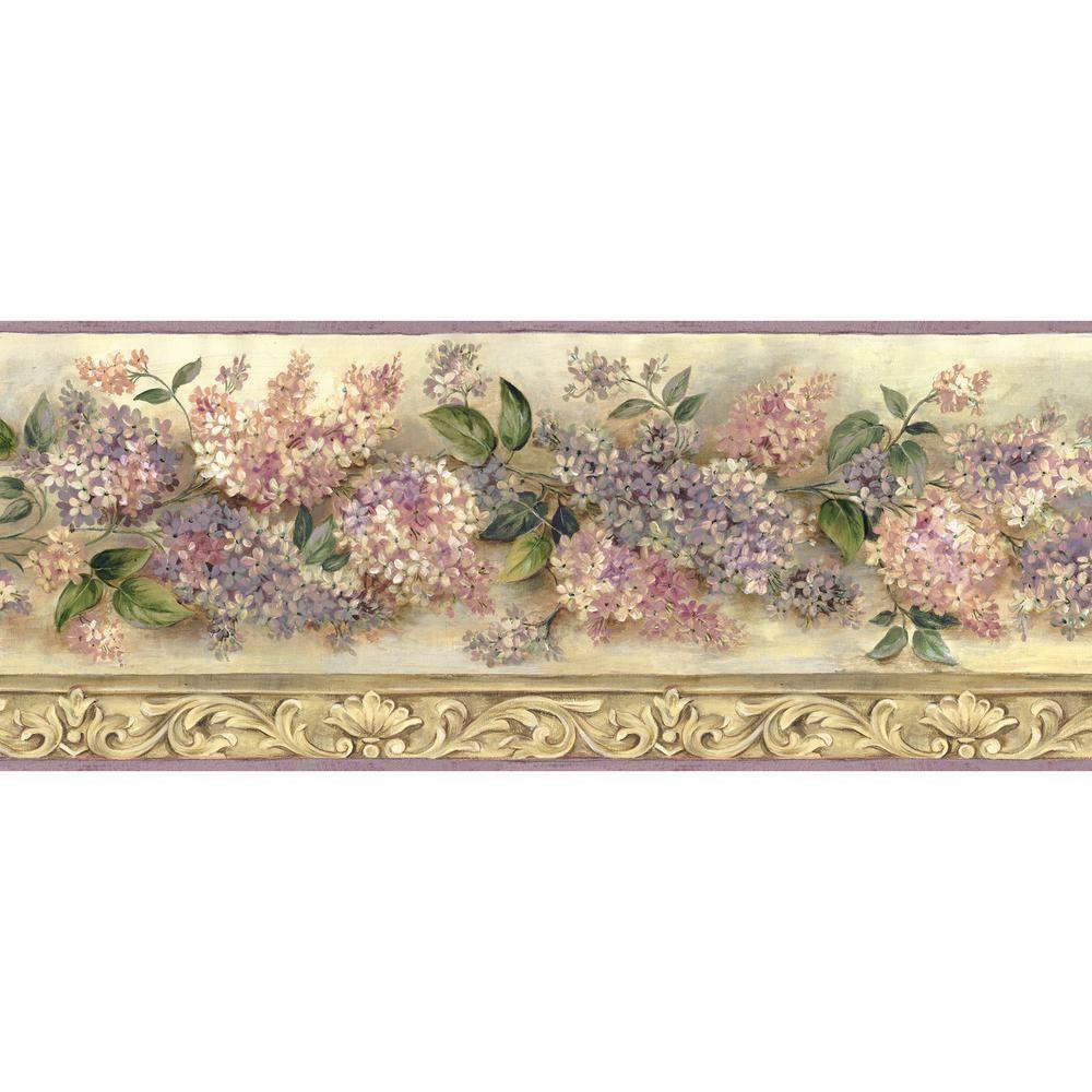 Chesapeake Ethel Sand Heirloom Lilacs Trail Wallpaper Border 1000x1000