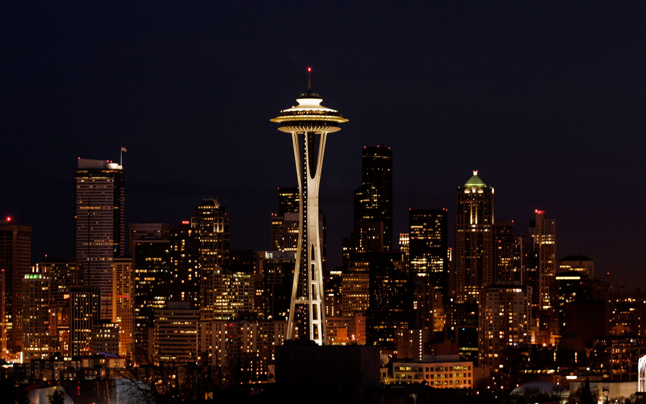 at Night Seattle Widescreen Wallpaper [1280x800 wallpaper 14 of 30 1280x800