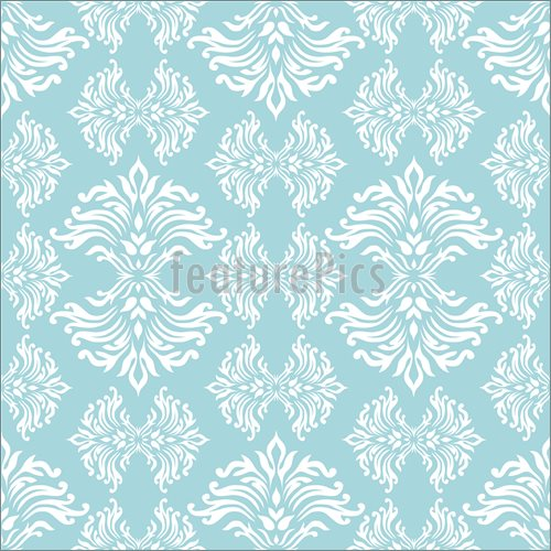 Illustration of light blue floral background with flowing design that 500x500