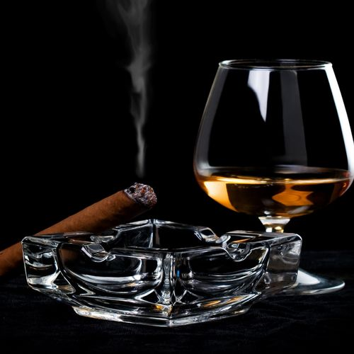 HD Cognac And Lighting Cigar Wallpaper 500x500