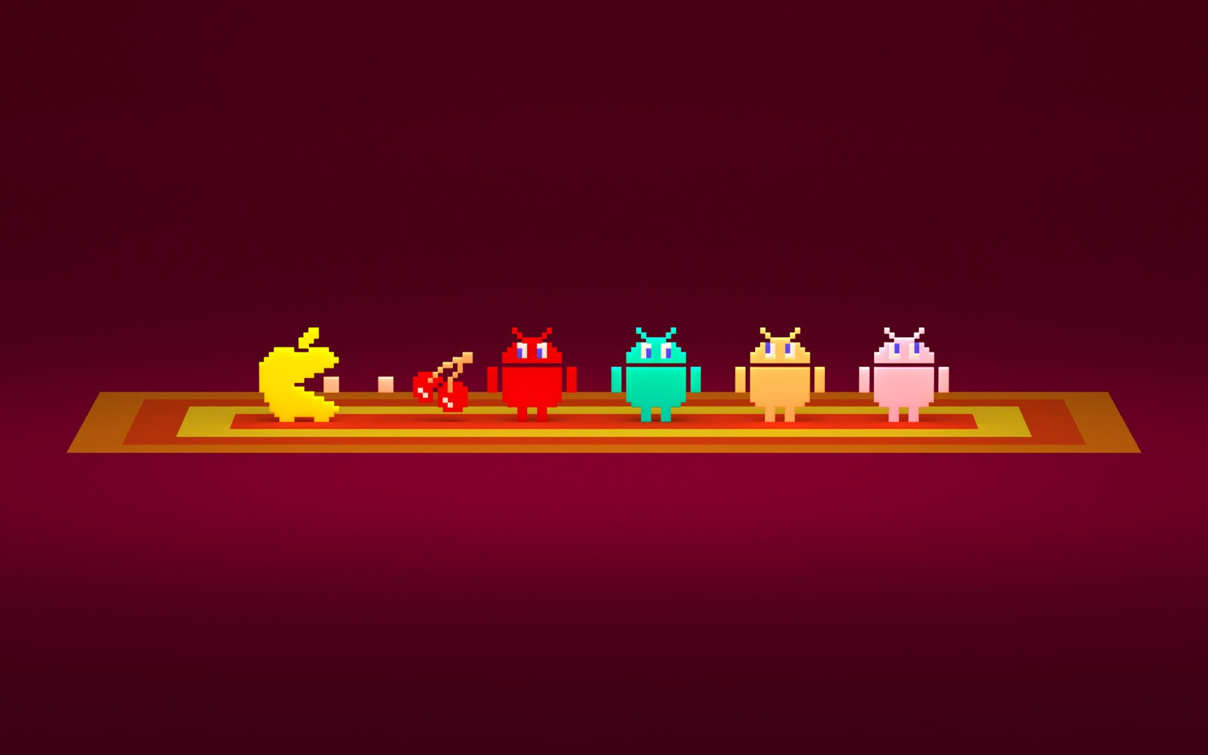 Pac Man Apple and Android logos wallpaper 13863 1728x1080