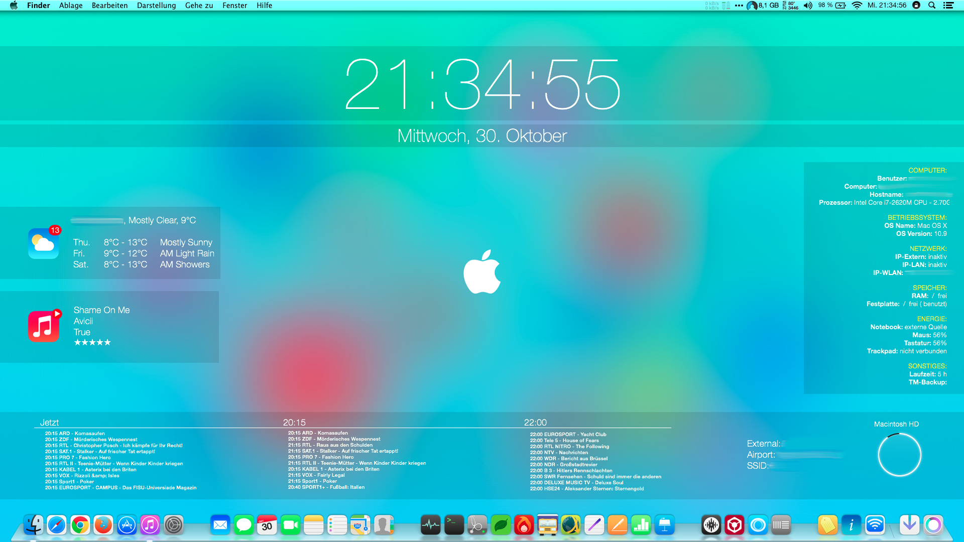 iOS 7 Desktop on Mac OS X Mavericks by cndymn 1920x1080