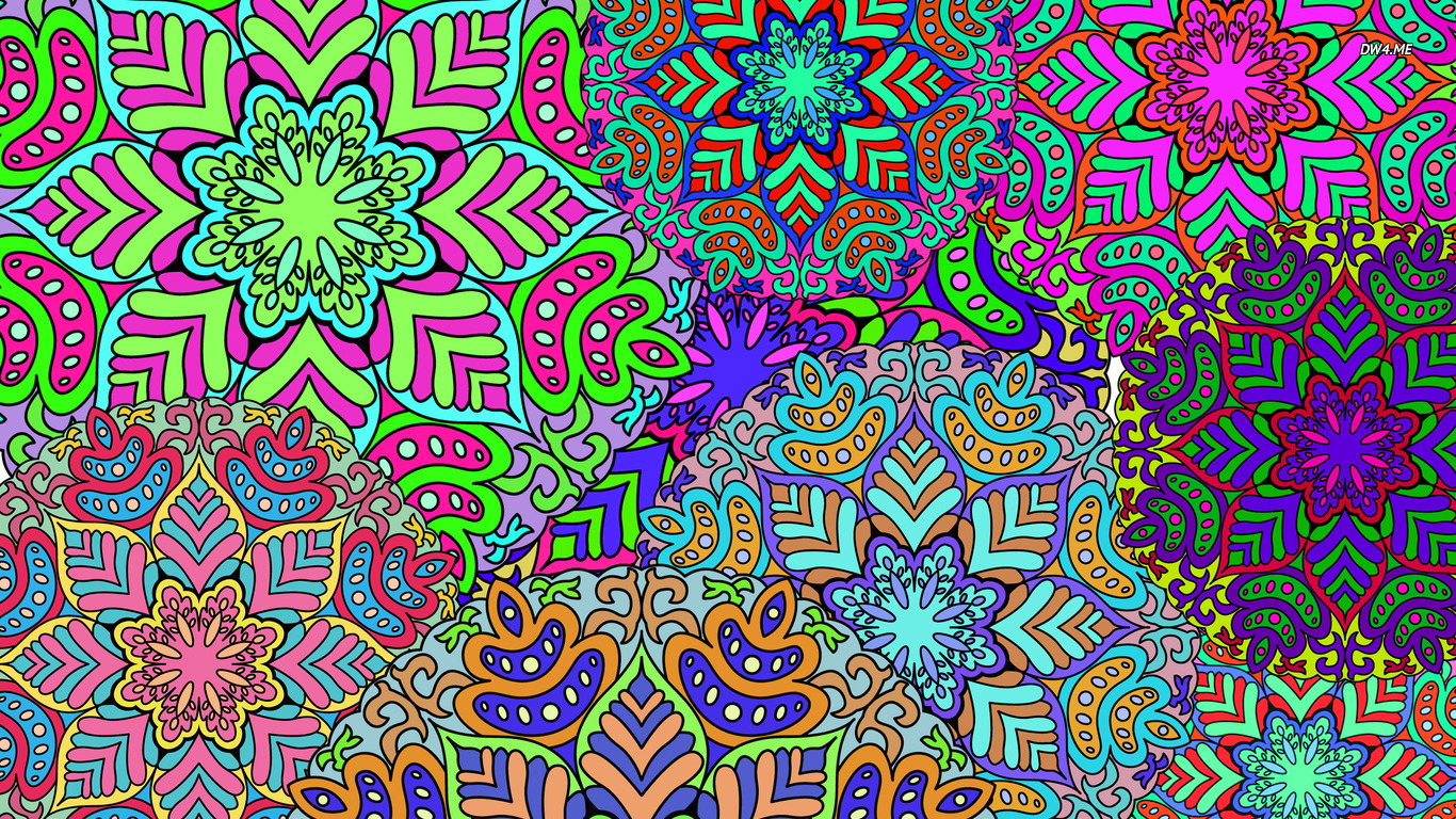 Colorful floral pattern wallpaper   Vector wallpapers   875 1366x768